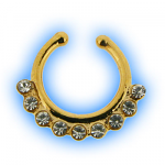 Multi Jewelled Non Piercing Septum - Gold Finish