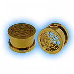 Gold Plated Screw Ear Tunnel - Spiders Web