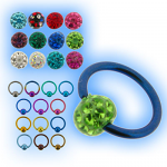 1.6mm (14g) Titanium Ball Closure Ring - Disco Ball