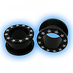 Ear Stretching Tunnel - Black Stars Acrylic Screw Tunnel