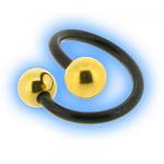 Black PVD Titanium Twister Gold Plated Plain Balls