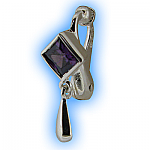 Clip on Belly Ring Amethyst Diamond Drop