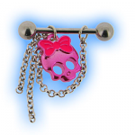 Nipple Barbell with Pink Skull and Dangles