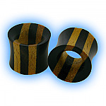 Wooden Flesh Tunnel - 2 Tone Stripe Ebony Areng & Jackfruit Wood