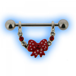 Red Bow and Gems Jewelled Nipple Stirrup Dangle
