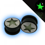 Acrylic Screw Fit Ear Plug with Glow in the Dark Star