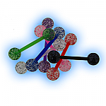 Set of 6 Acrylic Glitter Ball Tongue Bars