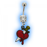 Tattoo inspired Belly Bar with Heart and Dagger