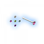 Straight Steel 1.5mm Jewelled Nose Studs - Set of 5