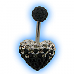 Three tone disco heart belly bar - black