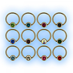 1.2mm (16g) Polished Titanium Ball Closure Ring - Jewelled Ball