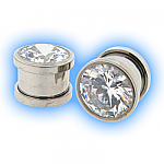 Clear Gem Set Steel Screw Plug