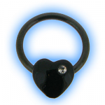 Black Heart with Gem Nipple Ring BCR