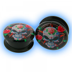 Acrylic Screw Plug Skull with Roses
