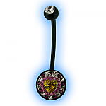 Black Pregnancy Belly Bar Multi Jewelled Circle