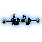 Industrial Barbell with Musical Notes for Scaffold Ear Piercing