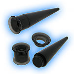 Black Acrylic Screw Tunnel and Taper Ear Stretching Kit