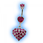 Belly Bar - Fuchsia Heart Dangle