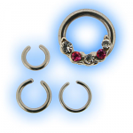 Septum Captive Bead Ring with 5 Gems