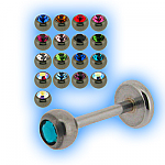 Stainless Steel Labret Stud & Jewelled Ball - 1.2mm (16G)