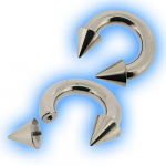Internally Threaded Steel Large Gauge Circular Barbell CBB with Cones