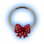 Stainless Steel Nipple Ring with Red Bow