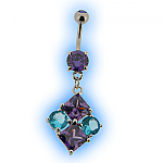 Diamond Shaped Belly Bar in Purple and Aqua